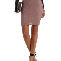 Blush Combo Ribbed Bodycon Pencil Skirt by Charlotte Russe