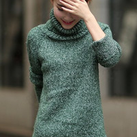 Green Turtleneck Long Sleeve Knitted Side Slit Sweater