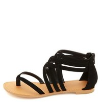 Qupid Strappy Ankle Cuff Thong Sandals by Charlotte Russe - Black