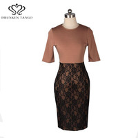 DONGXING Women Elegant Pinup Vintage Retro Lace Off Patchwork Belted Stretch Colorblock Bodycon Party Fitted Work Office Dress