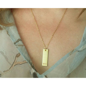 Name Bar Necklace / Personalized Vertical Bar / Customized Jewelry / Monogram Necklace / Meaning Gift / Hand Stamped / ID gift / N169