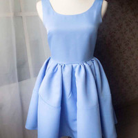 MD004 Icy blue Dress Petite Fit and flared Party Dress Princess Dress Short Party Dress - magic1668