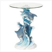 Playful Dolphins Marine Life Glass Top Accent Table [Kitchen]