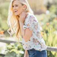 Maxine Blue Floral Stripe Top