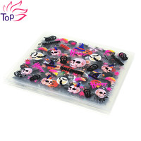 24 Pcs/Lot Halloween Design Beauty Nail Art Stickers Adhesive Transfer 3D Skull Pumpkin Stickers Decals For Nails Tips JH280
