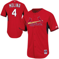 Yadier Molina St. Louis Cardinals 2014 Authentic On-Field BP Cool Base Performance Jersey - Red
