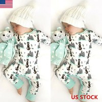 Infant Newborn Baby Boy Girl Long Jumpsuit Bodysuit Romper Cotton Outfit Clothes