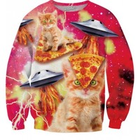 Bacon Pizza Space Cats Sweatshirt | All Over Print Shirts | EDM Apparel