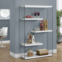 "Glossy White Hollow-Core/Tempered Glass 60""H Bookcase"