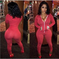 2016 Long Sleeve Pink Rompers Womens Jumpsuits Sexy One Piece Outfits Long Pants Zipper Pockets Bodycon Overalls Casual