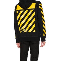 Indie Designs Off White Inspired Yellow Stripes Maglia Hoodie