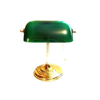 Vintage Brass / Green Glass Banker's Desk Lamp