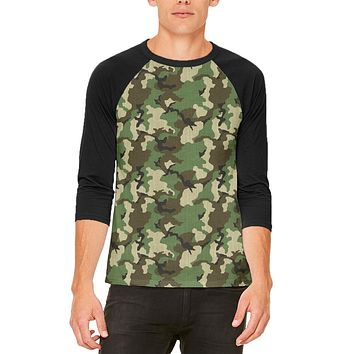 Green Woodland Camo Mens Raglan T Shirt