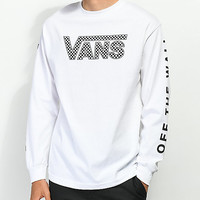 Vans Checkerboard Drop V White Long Sleeve T-Shirt | Zumiez