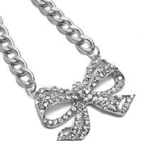 RHODIUM RHINESTONED BOW THICK CHAIN NECKLACE