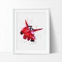 Baymax and Hiro Hamada Watercolor Art Print
