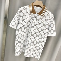 GUCCI fashion new double G jacquard color Polo lapel shirt for men