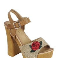 Retro Tan Floral Stacked Heel Wedges