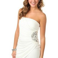 strapless tube tight club dress with side beaded detail - debshops.com