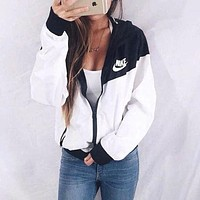 """NIKE"" Hooded Zipper Cardigan Windbreaker Sweatshirt Jacket Coat Sportswear  1897"