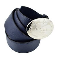 Prada Navy Blue Saffiano Leather Belt Silver Belt Buckle 2CM046 Size 105 / 42