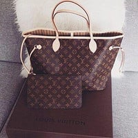 Louis Vuitton LV Trending Ladies Shopping Bag Leather Tote Handbag Shoulder Bag Purse Wallet Set Two-Piece