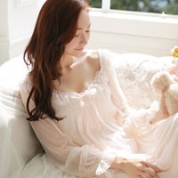 Womens Soft Elegant Long Nightgowns Female Sweet Princess Sleeping Home Dress Lady Lace Sexy White Pink Nightdress Nightclothes