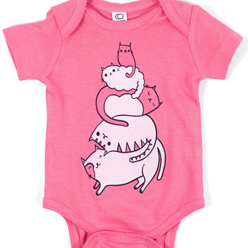 Organic Cat Baby Clothing by boygirlparty - Stack the Cats Baby Onesuit