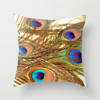 Feathers... Throw Pillow by Lisa Argyropoulos | Society6