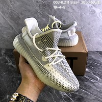 DCCK2 A1269 Adidas 2019 Yeezy Boost 350 V2 Static Hollow Knit Sports Running Shoes Gray