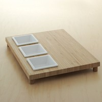 Food Network 4-pc. Square Bowl & Bamboo Serving Tray Set (White)