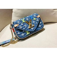 Louis Vuitton denim three color casual simple versatile chain bag