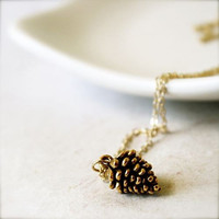 Pine  Longing For Winter  Gold Charm Jewelry by sparklethots