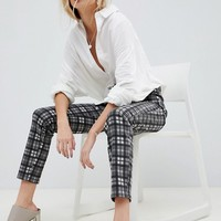 ASOS DESIGN Farleigh high waist slim mom jeans in mono check at asos.com
