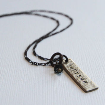 Gift for Her ONE Tag TINY Personalized Hammered Gold Dust Necklace with Name or Word and a Diamond Crystal or Birthstone