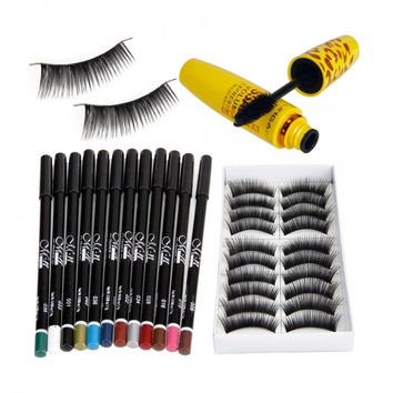 3PCS 12 Colors Eyeliner Eye Shadow Pen 10 Pairs False Eyelashes Mascara Eye Makeup Set