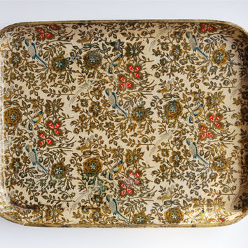 Beautiful Vintage Tray / Floral & Bird Design / Off-white and Gold Platter / Alfred Knobler Paper Mache