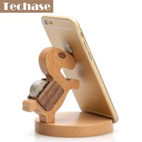 Techase Animal Design Phone Accessories Wooden Moblie Phone Holder Compatible For Samsung S6 Smartphone Desk Stand For Phone 6