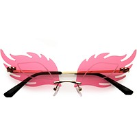 Aesthetically Elegant Fire Bevelled Masquerade Detail Flame Shaped Sunglasses D076