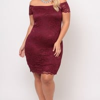 Plus Size Floral Lace Overlay Dress - Burgundy
