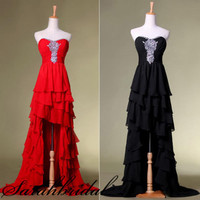 Long to Short Prom Party Cocktail Military Ball Gown Red Black Dresses For Women