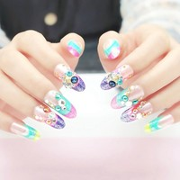 3D Gems Colorful French False Nail Tips Clear Purple Pink Shimmer Glitter Fuax Ongles Full Cover Acrylic Artificial Fake Nails