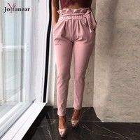 Joyfunear High Waist Bandage Trousers Summer Ruffles Stretch Pants For Women Slim Ladies Solid Slim Trousers Female
