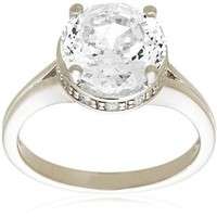 "Platinum Plated Sterling Silver ""100 Facets Collection"" Solitaire Cubic Zirconia Ring, Size 6"