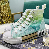 DIOR CD new colorful rainbow color film sneakers fashion ladies high-top white shoes