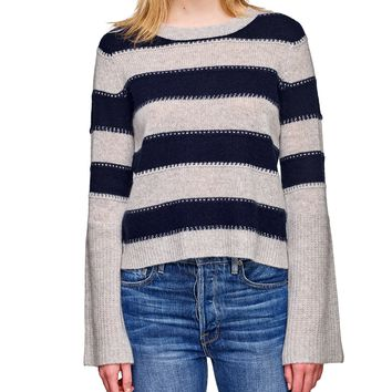 Striped Cashmere Bell Sleeve Sweater