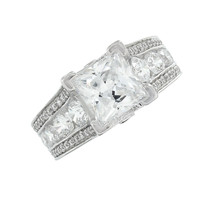 Princess Cut Ring Solitaire Engagement Wedding Sterling Silver Simulated Diamond