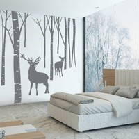 Ik76 Wall Decal Sticker Room Decor Art Mural Deer Forest Birch Bedroom Kitchen