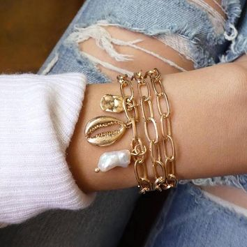 Chunky Linked Chain Sea Shell 3 Piece Bracelet in 14K Gold Plating