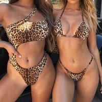 2019 New Bikinis Sexy Leopard Bikini Set Swimwear Women Halter High Leg Swimsuit Swimming suit for Women Thong Biquini